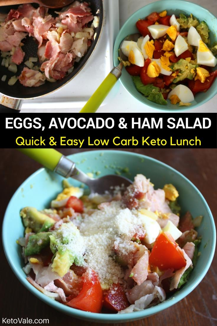 Low Carb Eggs, Avocado and Ham Salad