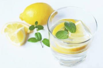 glass of lemon water