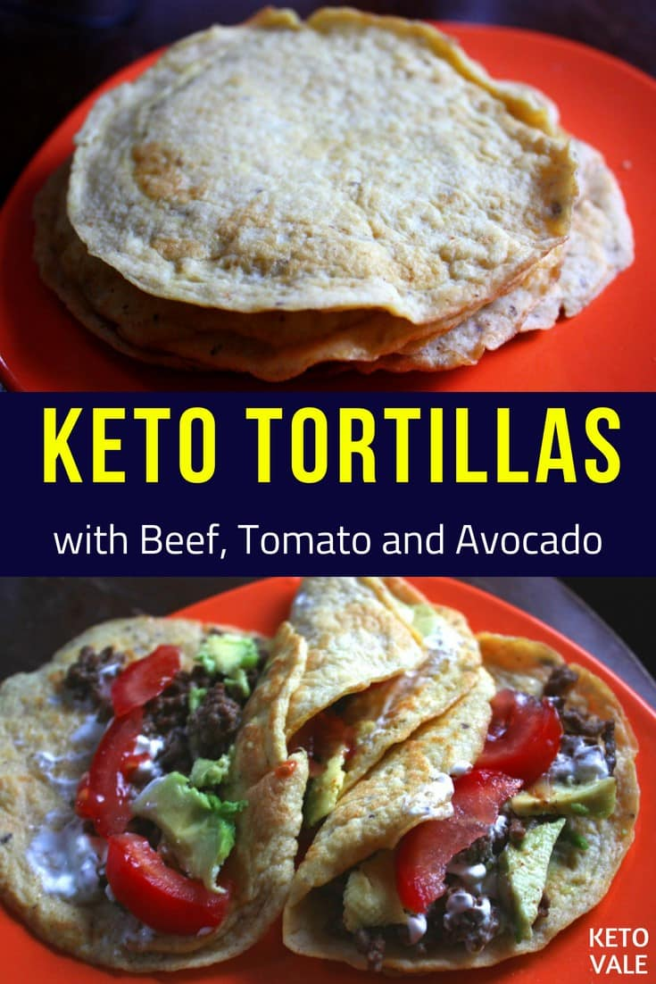 Keto Tortillas with Beef, Tomato and Avocado