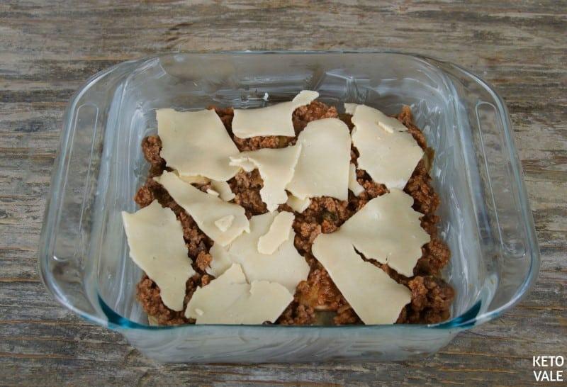 Layering eggplant lasagne