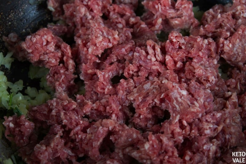 Saute ground beef in bacon fat