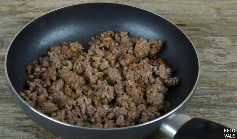 Saute ground beef with taco seasoning