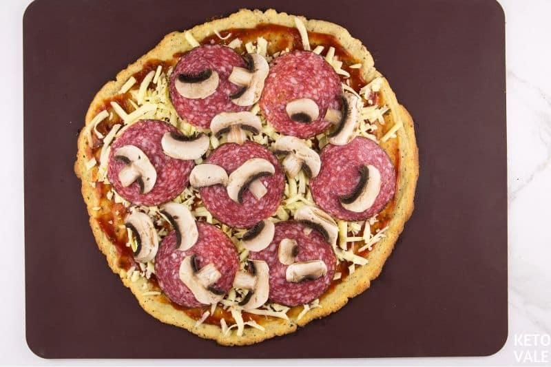 add salami mushroom cheese toppings