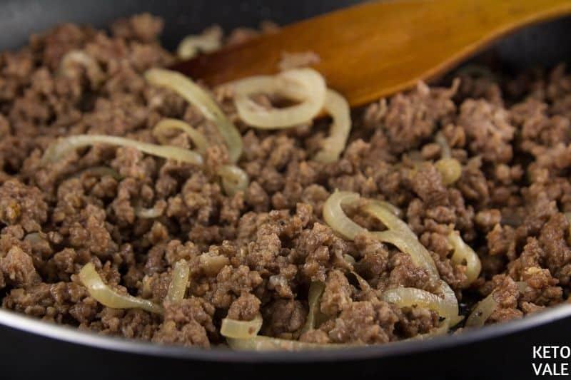 saute ground beef onion garlic