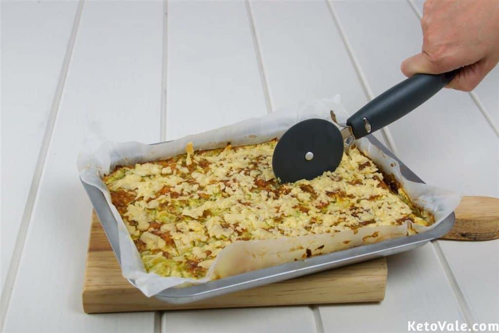 Cutting zucchini bread