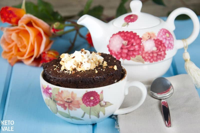 Sugar free chocolate cake in a mug