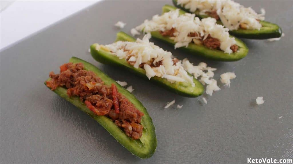 top cheese on jalapenos