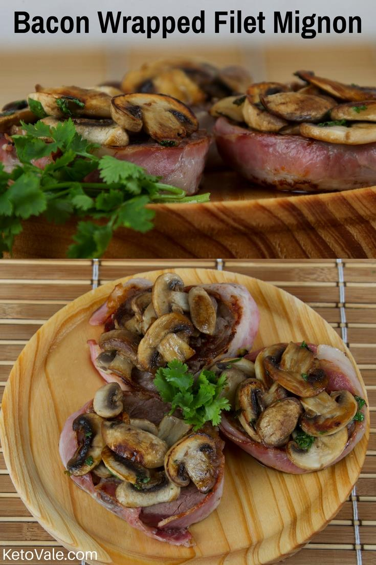 Filet mignon wrapped in bacon with mushroom sauce