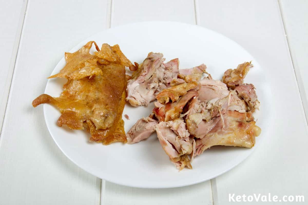 Removing chicken skin and bone