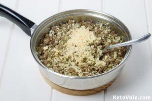 Saute ground beef with onion leek