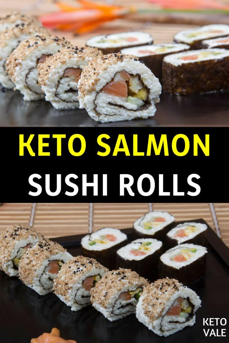 Keto Sushi Rolls with Avocado, Cucumber and Smoked Salmon Low Carb Recipe