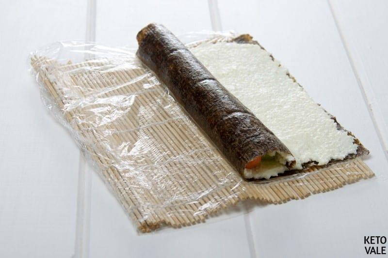 start rolling sushi from one side