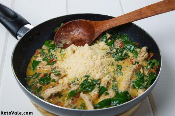 Add spinach, Parmesan cheese
