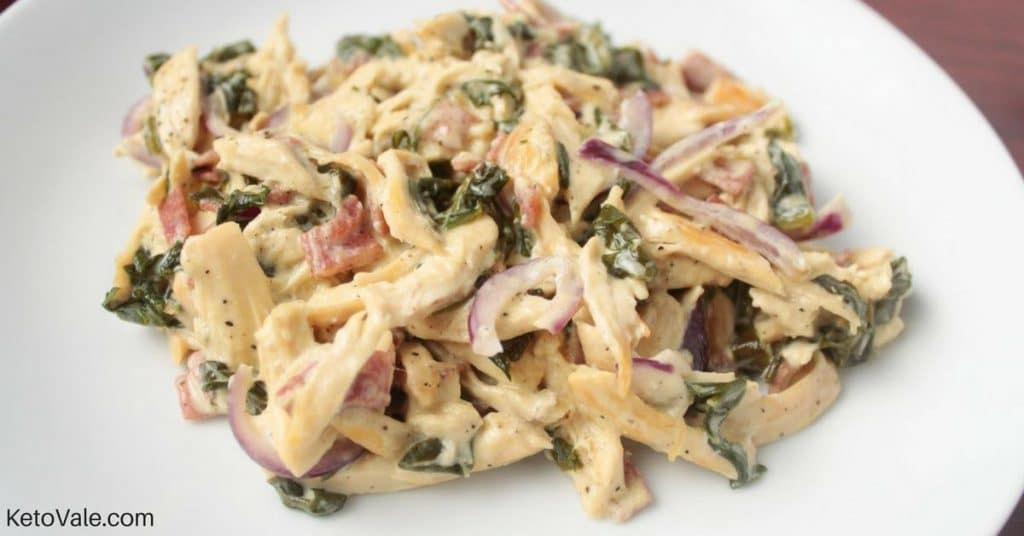 Creamy Shredded Chicken With Spinach And Bacon Recipe Keto Vale
