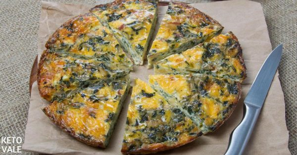 Keto Crustless Spinach Quiche Low Carb Recipe | Keto Vale