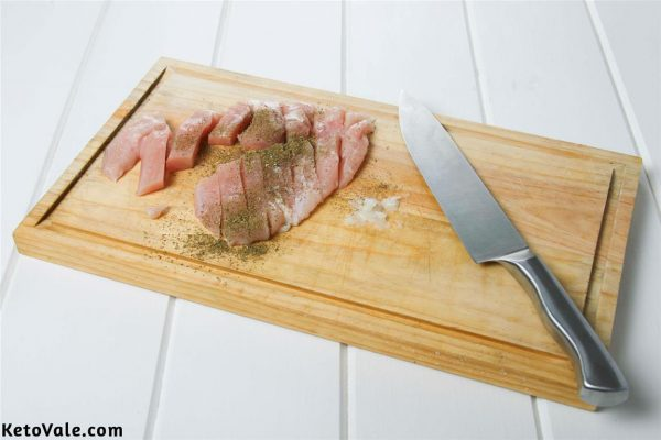 Cut and season chicken