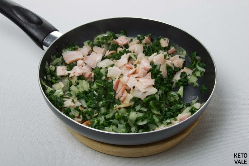 saute bacon onion spinach