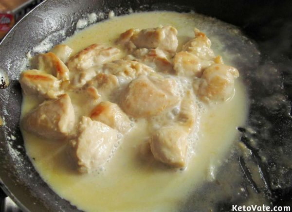 Cook chicken in heavy cream and coconut