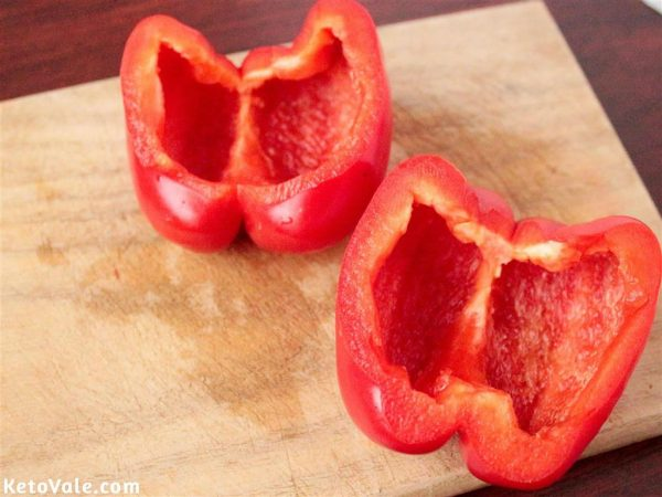 Cut bell pepper in half