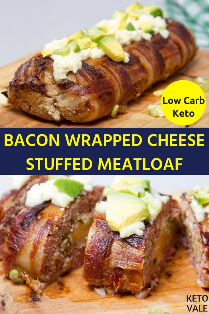Keto Bacon Wrapped Cheese Stuffed Meatloaf