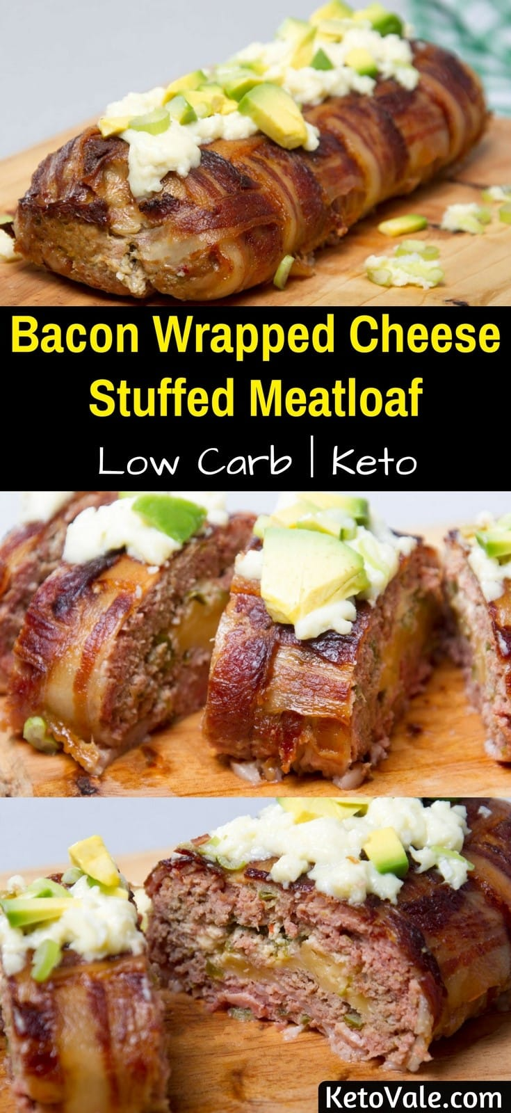 Keto Cheese Stuffed Meatloaf Wrapped with Bacon Low Carb Recipe