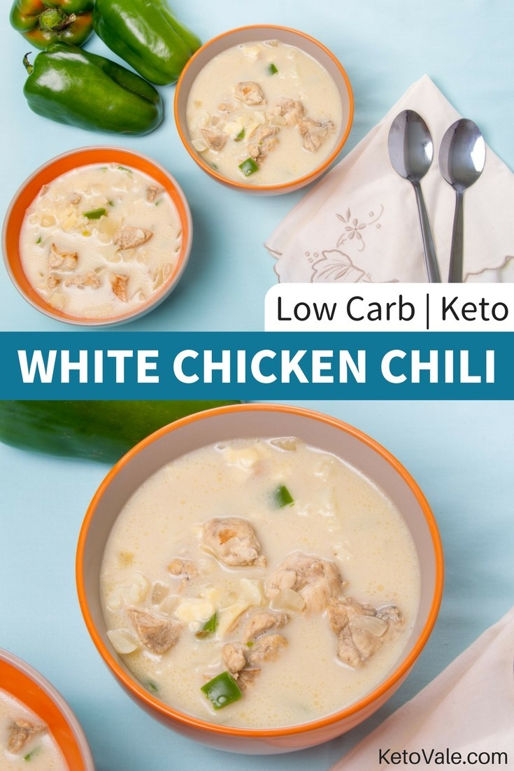 Cheesy White Chicken Chili Soup Low Carb Recipe Keto Vale