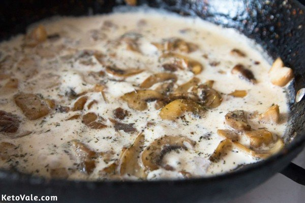 Add heavy cream, dried thyme, salt