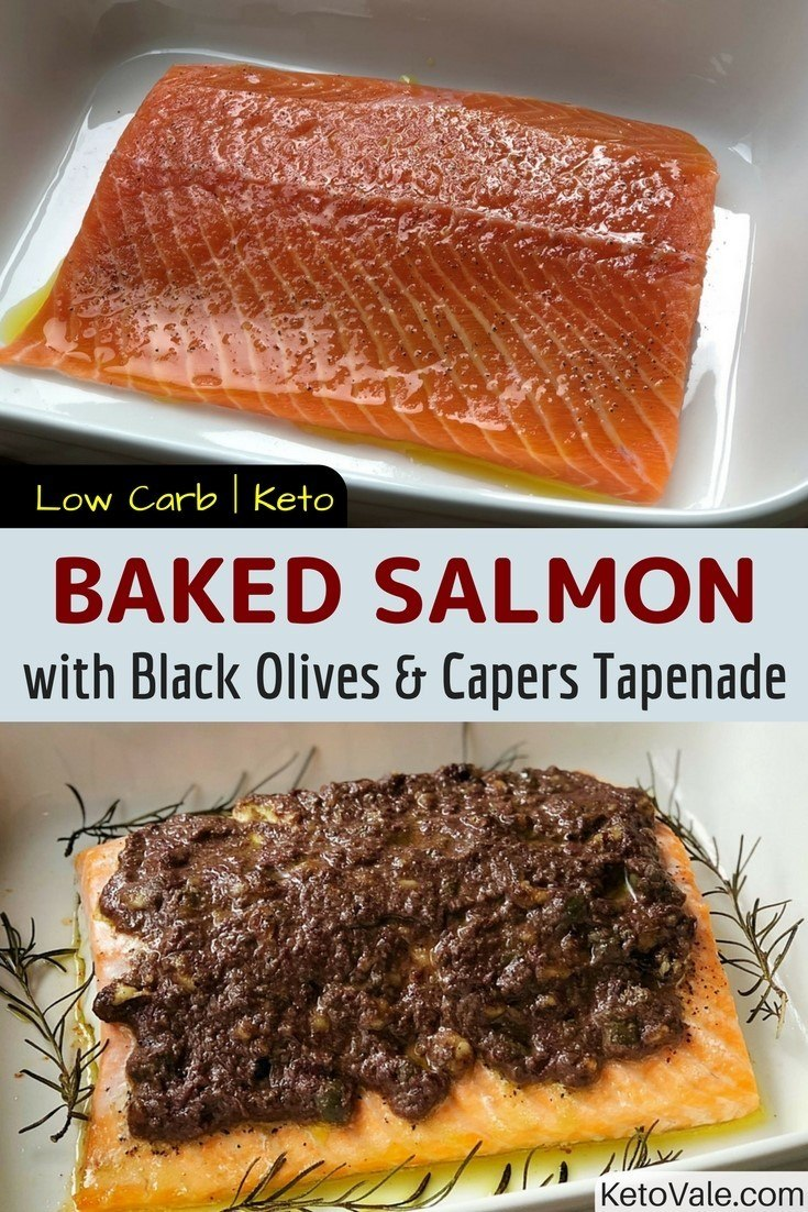 Baked Salmon with Black Olives and Capers Tapenade