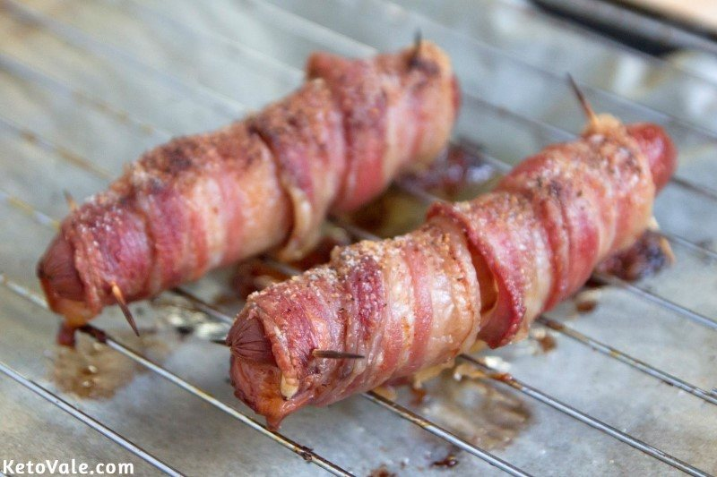 Baked bacon wrapped hot dogs