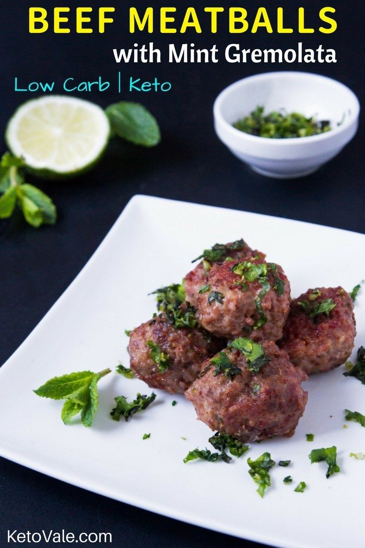 Beef Meatballs With Mint Gremolata