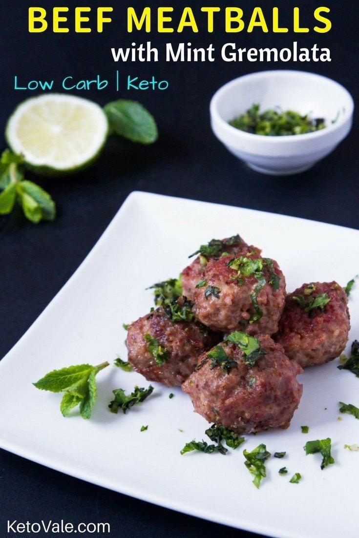 Beef Meatballs With Mint Gremolata