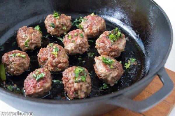 Cook meatballs in a frying pan