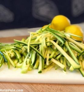 Cut zucchini into noodles shape