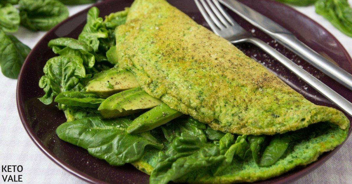 Green Omelette with Avocado for Breakfast Recipe | Keto Vale