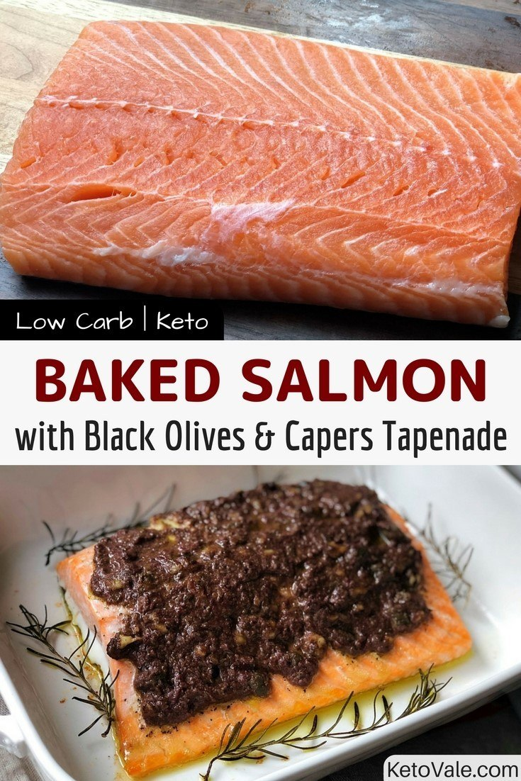 Baked Salmon with Black Olives and Capers Tapenade Low Carb Recipe