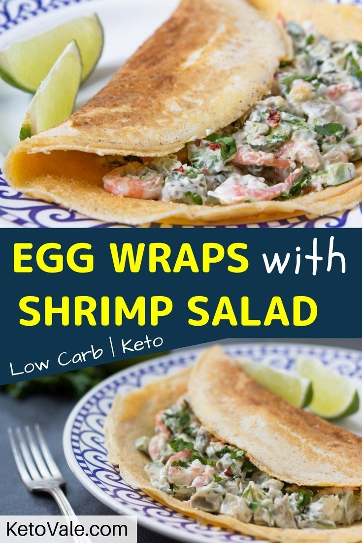 Low Carb Egg Wraps with Shrimp Salad Keto Diet Recipe
