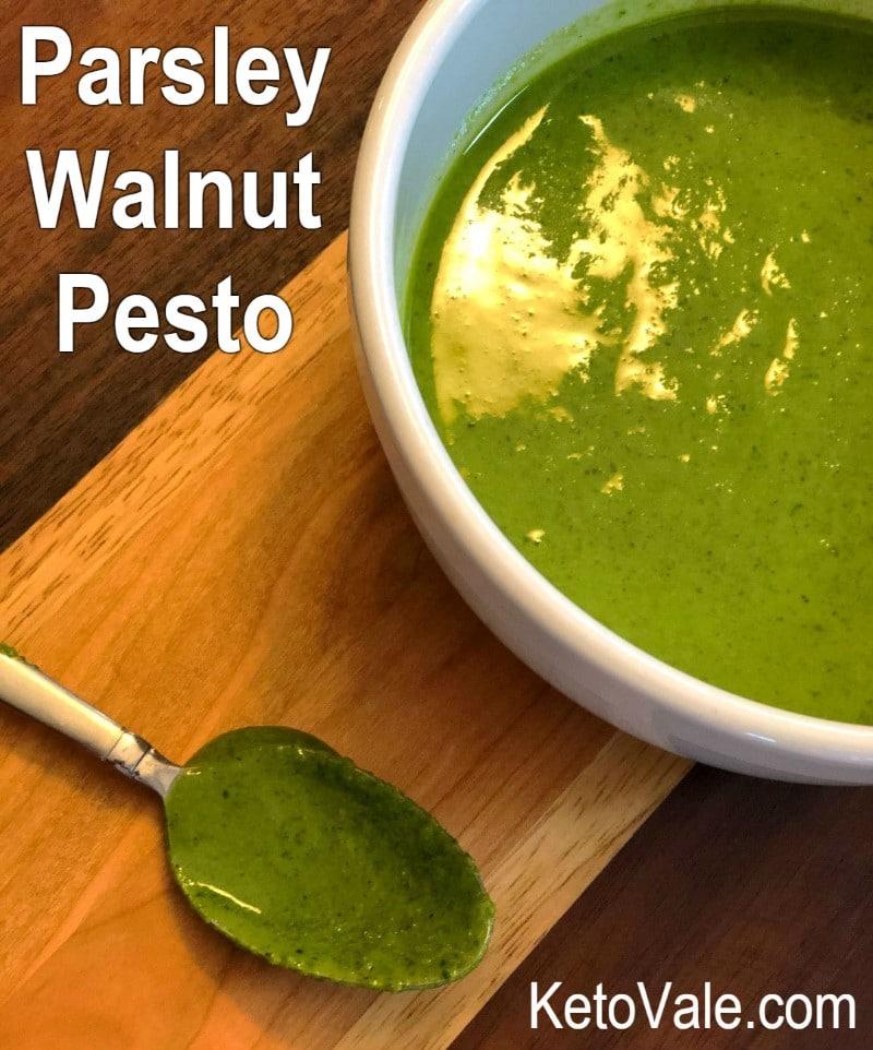 Low Carb Parsley and Walnut Pesto Sauce Recipe