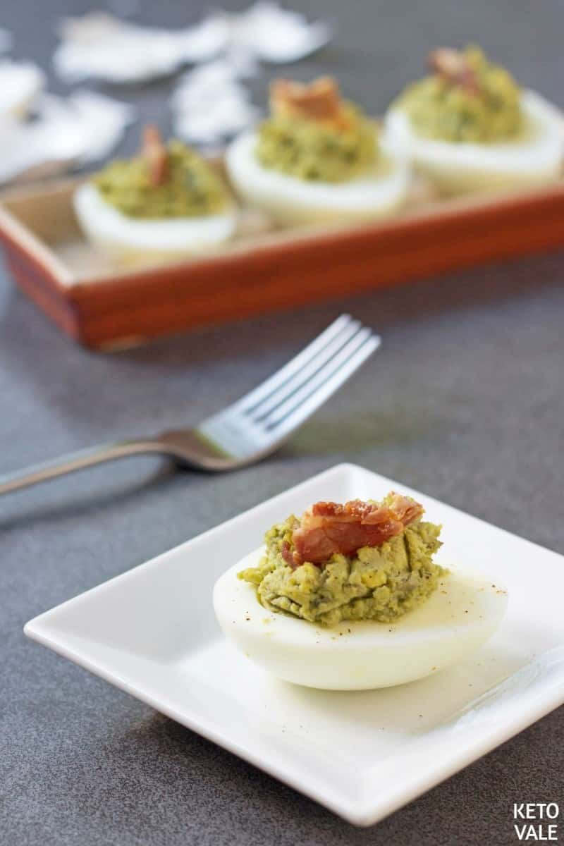 Keto avocado bacon deviled eggs