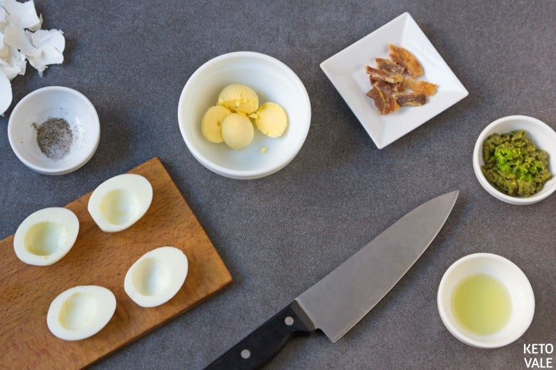 slice boil egg and remove yolk