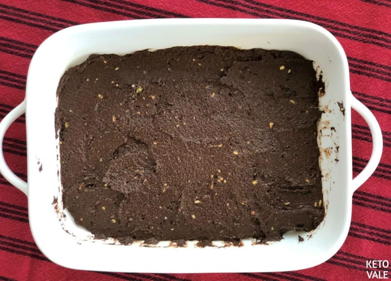 Add brownies batter to baking dish