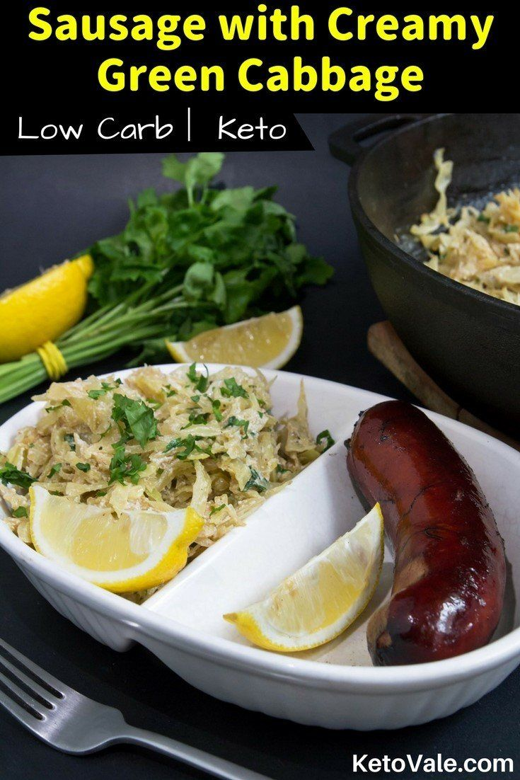 Keto Creamed Cabbage with Sausage Low Carb Recipe