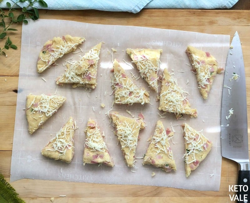 Cut scone into triangles