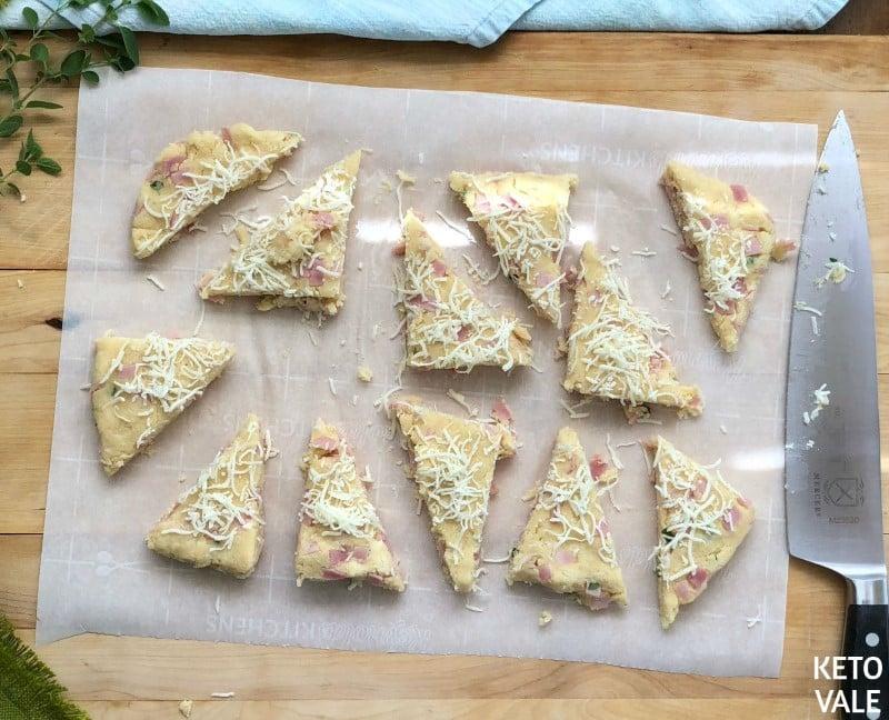 Cut scone into triangles