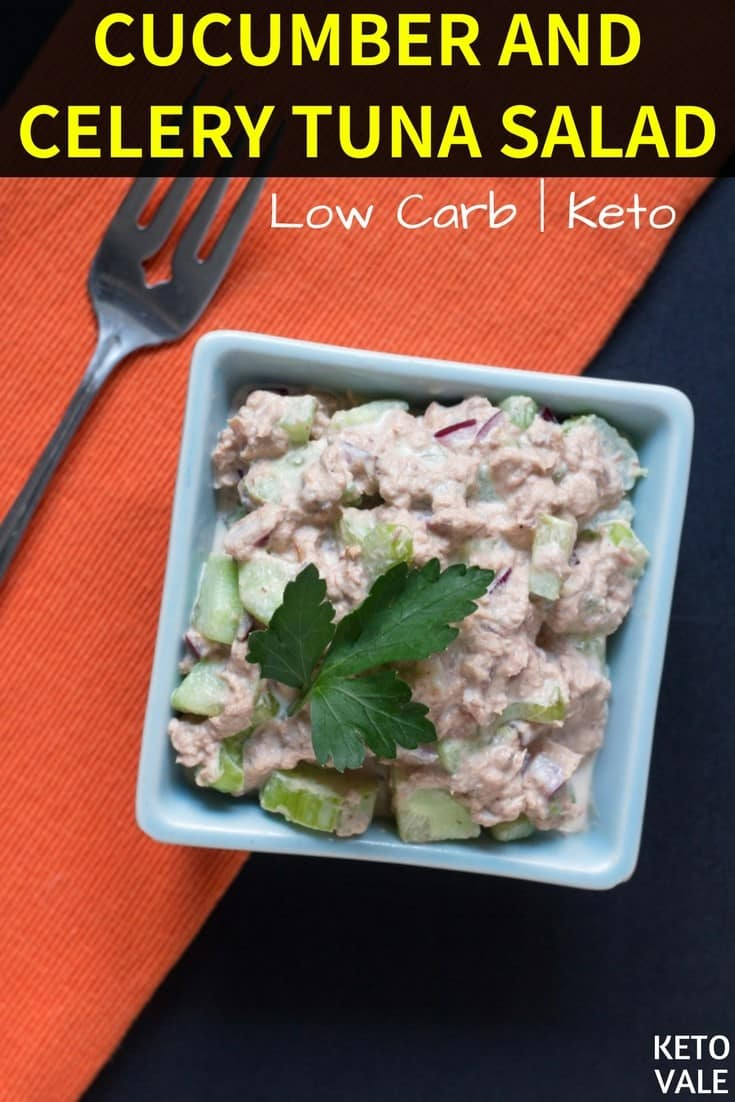 Easy Keto Tuna Salad with Cucumber and Celery Low Carb Recipe