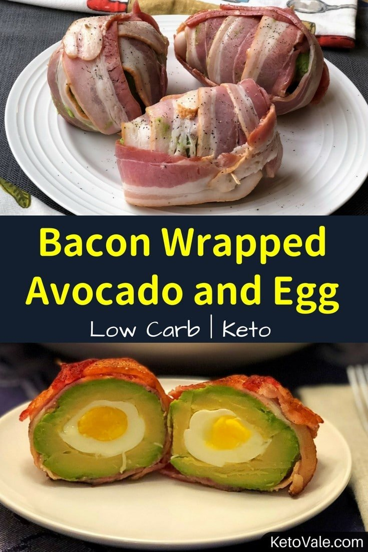 Keto Bacon Wrapped Egg Stuffed Avocado Low Carb Recipe