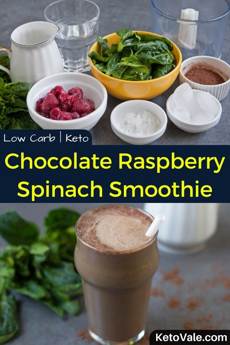 Keto Chocolate Raspberry Spinach Smoothie Low Carb Recipe