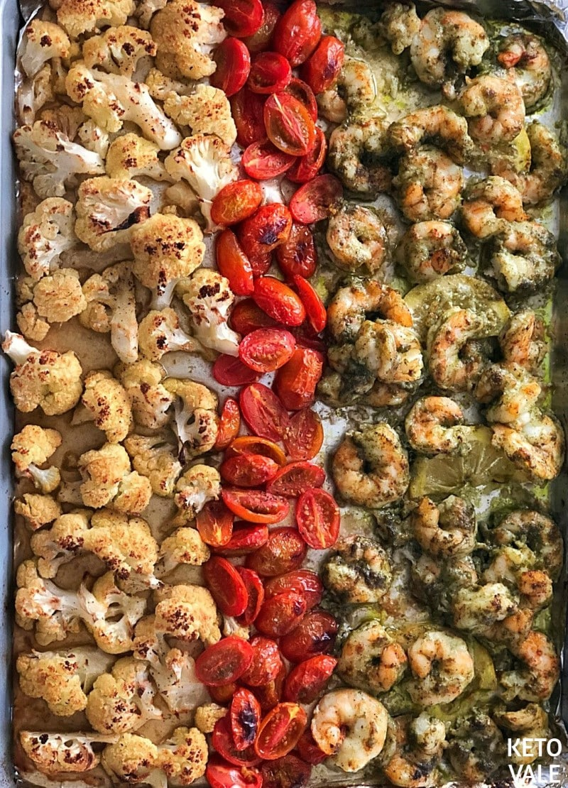Pesto Shrimp with Cauliflower and Tomatoes