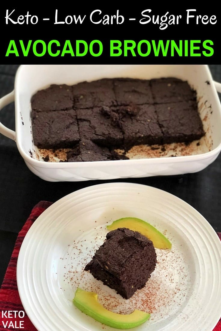 Keto Low Carb and Sugar Free Avocado Brownies Recipe