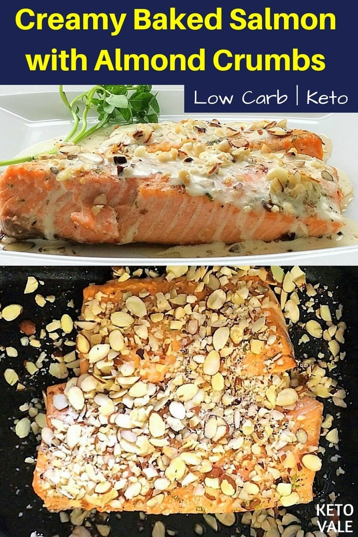 Keto Creamy Baked Salmon with Almond Crumbs Low Carb Recipe