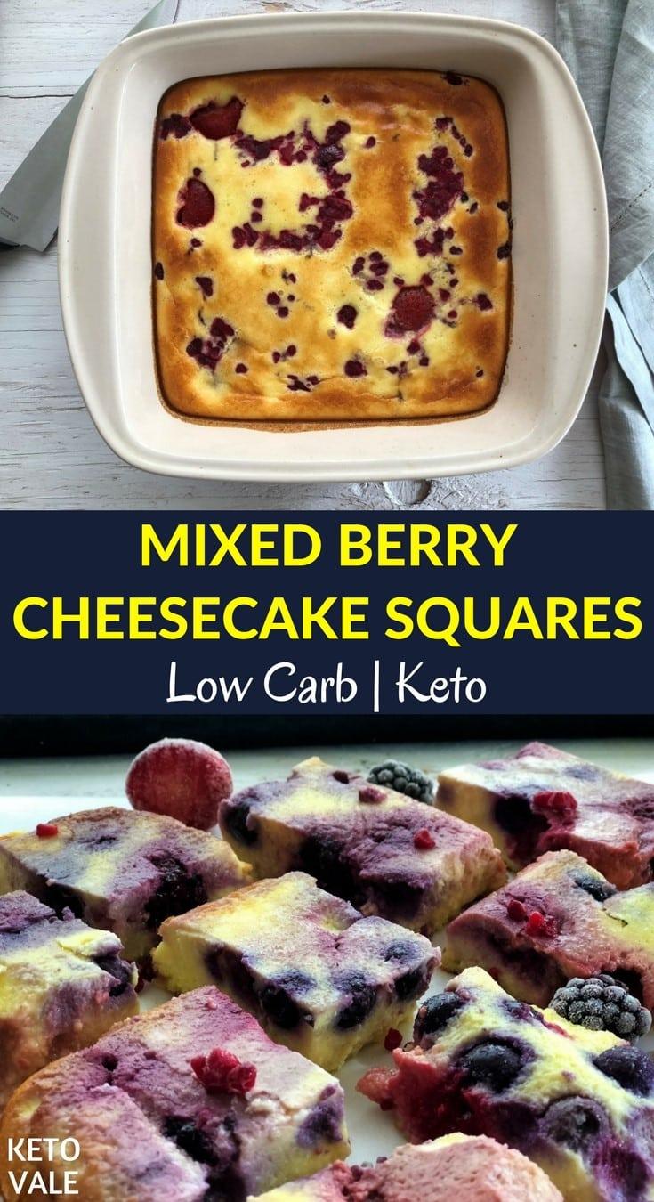 Keto Mixed Berry Cheesecake Squares Low Carb Sugar Free